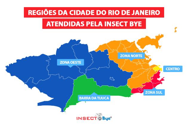 A imagem mostra todas as regiões de atendimento da Insect Bye, uma dedetizadora completa no RJ.